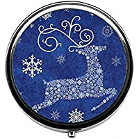 LinJxLee Merry Christmas Reindeer Snowflake Round Pill Case Pill Box Tablet Vitamin Organizer Easy to Carry preisvergleich bei billige-tabletten.eu