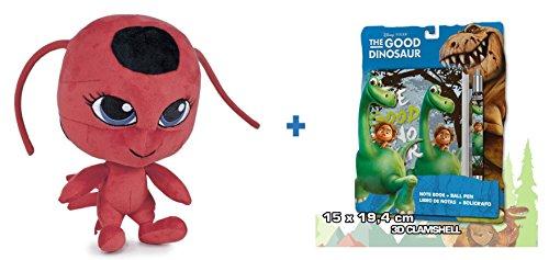Prodigiosa: Las aventuras de Ladybug: Peluche TIKKI 27cm + Set de papelería El viaje de Arlo.