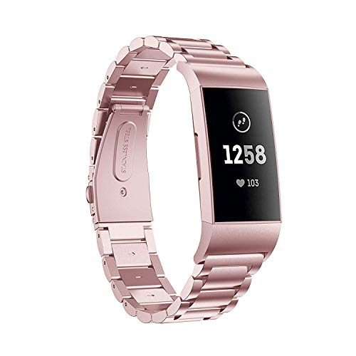 Aimtel kompatibel Fitbit Charge 3/Charge 3 SE Armband,Solid Edelstahl Metall Ersatzarmband Uhrenarmbänder kompatibel Fitbit Charge 3 Fitness-Tracker(Rosa)