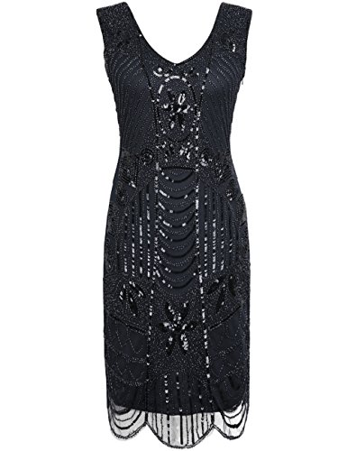 PrettyGuide Damen 1920er Gatsby Art Deco ¨¹berbackene Saum Cocktail Charleston Kleider XS reines schwarz