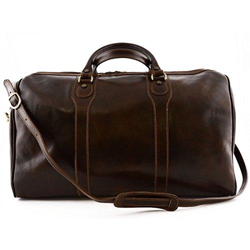 Dream Leather Bags Sac Voyage en Cuir Brun Foncé - Cuir Autentique Made in Italy - Sac Voyage