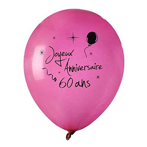 Chal - Ballon Joyeux Anniversaire Fuschia 60 Ans x 8