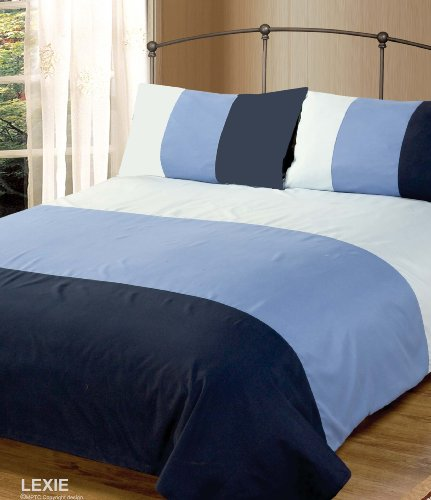 Double Bed Duvet / Quilt Cover Bedding Set Lexie Blue Plain 3 Tone