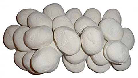 20 White Ceramic Pebbles For Bio Ethanol and Gas Fireplaces