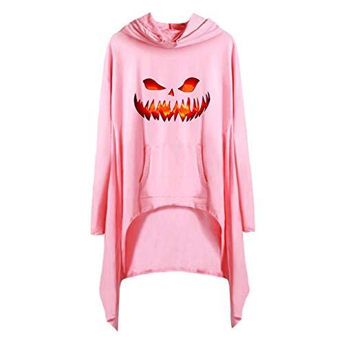 Blühen Mädchen Kostüm Hexe - Subfamily Halloween Kostüm Damen Bedruckte Pulloverkleider mit Kapuze und Tasche Curved Saum Mini Kleider Sport Freizeit Locker Coole Klamotten Mädchen (XL, Rosa 9407)