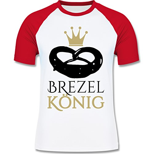 Oktoberfest Herren - Brezel König - zweifarbiges Baseballshirt für Männer Weiß/Rot