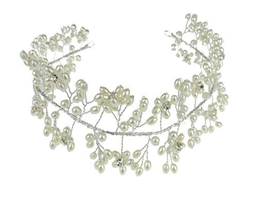 Superbe Mesdames Ivoire en imitation perle motif floral avec fil tiara Bandeau de mariage mariée Bibi