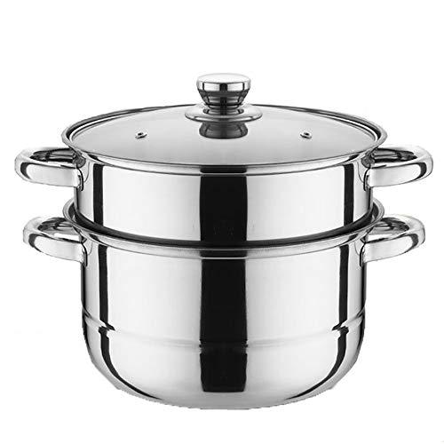 Vaporera para alimentos, acero inoxidable, 2 niveles de grosor, vaporera para sopa, cocina para el hogar, cocinas de vapor para cocinar con tapa de vidrio, 26 cm