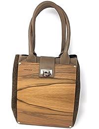 EMBAWO borsa donna a spalla CARLOTTA in vera pelle italiana e vero legno con fianchi in tessuto canvas - Qualità artigianale 100% Made in Italy