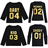 Ansenesna Familien Outfit Mutter Vater Kind Kleidung Freizeit Baumwolle Kurzarm Outfits Eltern Kind Familien Matching T-Shirts Tops Schwarz (Baby Langarm, 70)