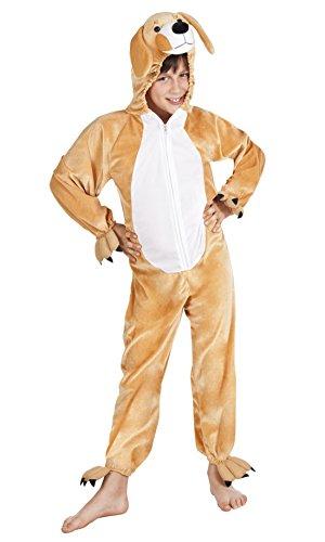 Halloweenia - Kinder Motto-Party Karneval Kostüm Plüsch Hund Onsie, Jumpsuit, 140, 10 Jahre, Braun