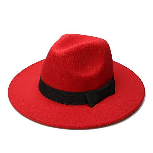 SHANGGUAN Big Size Wome Men Fedora Hut Wolle Sombrero Fedora Panama Jazz Hut Black Ribbon * (Farbe : Rot, Größe : 59-61CM)