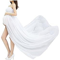 Jupes Enceintes Maternité Photographie Robe Sexy Longue Jupe en Mousseline de Soie pour Photo Shoot pour plage Vetêment à la Mode (Blanc)