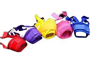 Fully 2x chien Bouche Muzzle Muselière Muselière Nylon Filet Maul bande réglable Protège-dents contre mâcher aboyer beissen (couleur aléatoire)