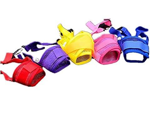 Fully 2x chien Bouche Muzzle Muselière Muselière Nylon Filet Maul bande réglable Protège-dents contre mâcher aboyer beissen (couleur