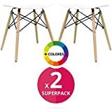 regalosMiguel - Pack 2 Taburetes Nórdicos Pequeños Tower Blancos (Inspirada en la Linea Eames)
