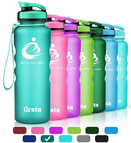 Grsta bottiglia d'acqua sportiva - 1 litro & 800ml & 600ml borraccia sportiva, a prova di perdite, riutilizzabile senza bpa tritan plastica detox bottiglie acqua per palestra, sport, yoga, la corsa