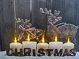 Modernes Kerzen und Rentier Weihnachten Bild mit LED-Lichtern batteriebetrieben Timer Leinwand Druck 40X 30cm Dekoration