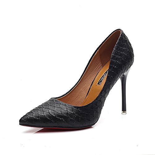 Bene con i tacchi alti scarpe a punta con tacchi alti fini crepe nella luce delle scarpe da donna Black (9.5CM)
