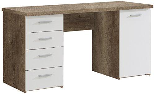 Eiche Vier Schubkasten (NEWFACE Net106 Schreibtisch mit 4 Schubkästen und 1 Tür, Holz, Eiche Antik + Weiß, 145 x 60 x 76.3 cm)