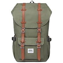 """Rucksack Damen Handgepäckrucksack Herren KAUKKO Backpack Schulrucksack KAUKKO 17 Zoll Laptop Rucksack für 15"""" Notebook Lässiger Daypacks Schultaschen of 2 Side Pockets für Wandern Reisen Camping (Nylon Army Green)"""
