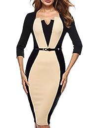 554025356 Luckyod Vestido Elegante Elegante de la Oficina del Trabajo de la Oficina  del Trabajo del Vintage del Remiendo de la ilusión óptica…