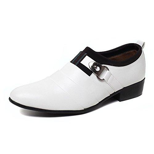 Minetom Herren Britisch Stil Stiefel Business Flach Schuhe Lace-up Spitzschuh Klassisch Oxford Formell Abendschuhe Weiß EU 43