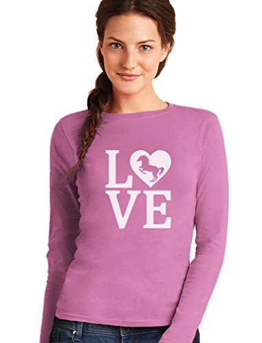 Green Turtle T-Shirts Love Chevaux T-Shirt Manches Longues Femme Rose