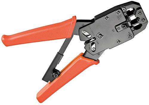 Crimpzange für Modularstecker inkl. Kabelschneider und Abisolierer schwarz + 20x (RJ11) Stecker für Telefonflachkabel