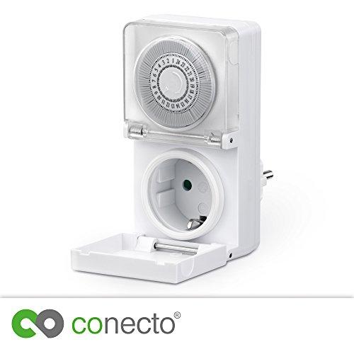 conecto CC50202 Mechanische Zeitschaltuhr für Steckdose, Innen- und Außenbereich (Indoor/Outdoor), Schieberegler für Zeitangabe, 24 Stunden Timer, Schutzklasse IP44 |Kinderschutz, 3500W, weiß