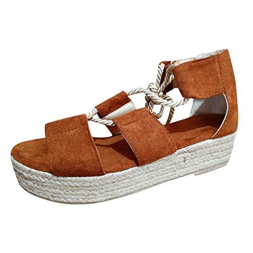 COZOCO Frauen Sommer Mode Schuhe Damen Sandalen Keil Flache Strandschuhe High Heels Plattform Sandalen(braun,39 EU)