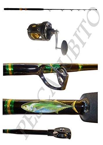 Kit canna + mulinello da 60 libbre ideale per la pesca al tonno a drifting o alla traina.Un ottimo rapporto qualità prezzo per la pesca del re del mare.