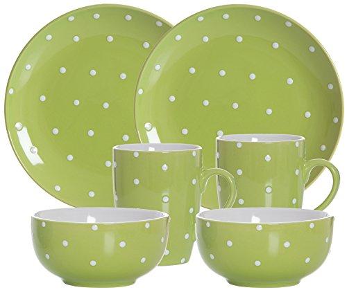 Ritzenhoff & Breker Brunch- und Frühstücksgeschirrset Pinto, 6-teilig, Keramik, Grün