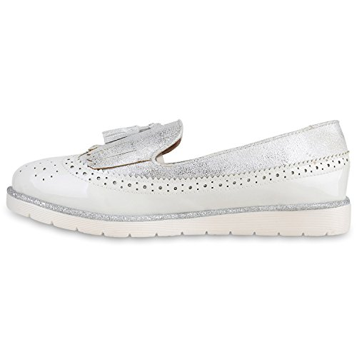 Damen Lack Slipper Loafers Metallic Quasten Schuhe Profilsohle Weiss Velours Lack