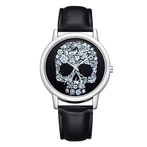 Gaddrt Montre bracelet en cuir de mode de luxe analogique quartz ronde (B)