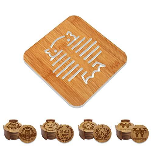 Personalisierte Untersetzer Hochzeit - Natürliches Bambus-Untersetzer-Set für Getränke - rund - 10 cm Holder Holder Bambus Coaster Set