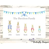 Personalised Watercolour Peter Rabbit Family A4 PRINT (NO FRAME) Picture Design 2