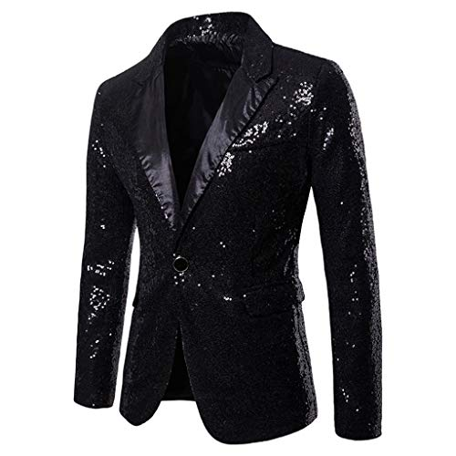 Longra-uomo giacca elegante vestito da uomo slim fit cappotto giacca blazer in paillettes uomo giacca costume festivo vestito da festa top outwear oro rosso argento (s, nero)