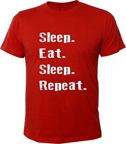 Mister Merchandise Herren Men T-Shirt Sleep Eat Sleep Repeat Tee Shirt bedruckt Rot