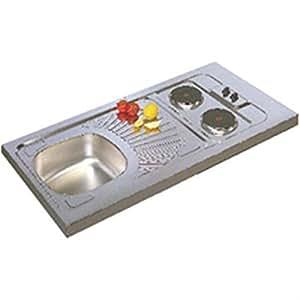 Evier cuisinette en inox F17, hauteur 5 cm, 1 cuve, 2 plaques électriques intégrées puissance totale 3000 Watts, vidage