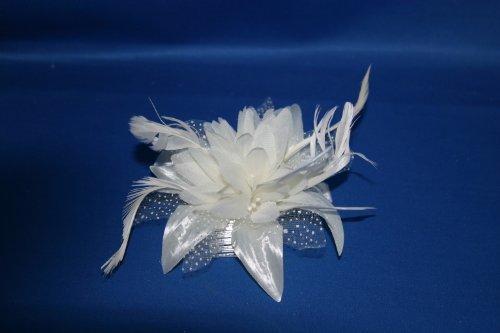 Fleur et Plume Fascinateur Ivoire attaché à un peigne clair
