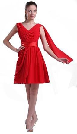 herafa p31692 2 prom kleider romantische stil v ausschnitt ohne arm knielang a linie rot amazon. Black Bedroom Furniture Sets. Home Design Ideas