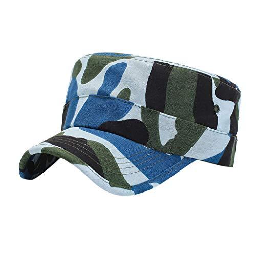 Syeytx Gewaschene Baumwolle Sommer Tarnung Military Caps Cadet Caps einzigartiges Design Vintage Flat Top Cap