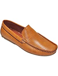 Kolapuri Centre Tan Coloured Artificial Leather Made Casual Slip On Loafers For Men's