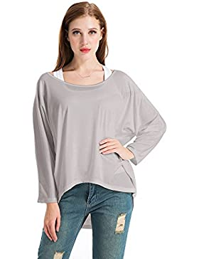 Exlura Blusa Suelta de Talla Grande Camiseta con Mangas Largas de Murciélago