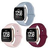 Kmasic Bracelet Compatible Fitbit Versa, Soft Band Silicone de Remplacement pour Fitbit Versa Fitness Smartwatch, Petit, 3 Pack-Rose Sable/Vin Rouge/Bleu Clair