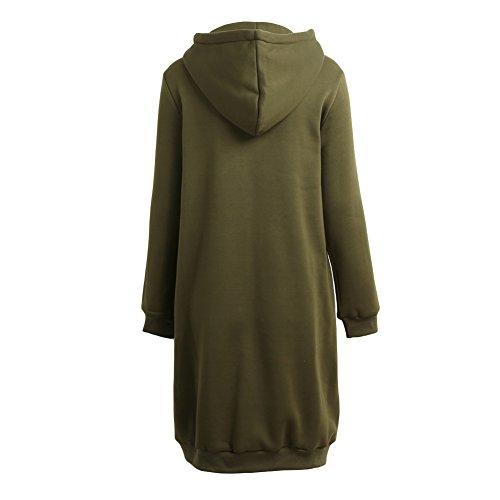 Romacci Damen Kapuzenpullover Lange Kapuzenpullis Beiläufiger Taschen Hoodie Pullover, Größe XXL, Farbe Grün - 4