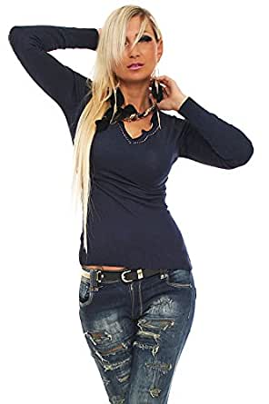 10137 Fashion4Young Damen Langarm-Pullover mit Strass Pulli Shirt verfügbar in 9 Farben Gr. 36/38 (36/38, Dunkelblau)