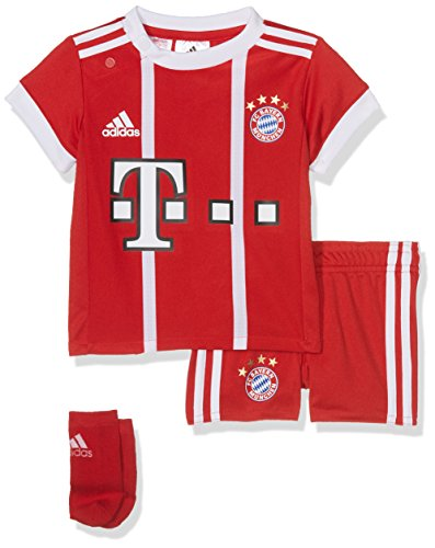 adidas Kinder FC Bayern Heim Kit Trikot und Shorts, Fcb True Red/White, 110