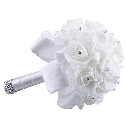 uß Kristall Rosen Perlen Brautjungfer Hochzeit Blumenstrauß Brautstrauß Kunstseide Blumen weiß ()
